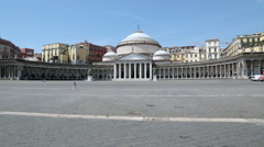 Great square with classical architecture, Napels Stock Footage