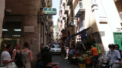 Crowded alley in Napels, Italy Stock Footage