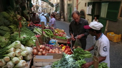 Vegetable stall in Napels, Italy Stock Footage