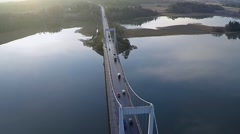 Aerial footage, bridge evening light - stock footage