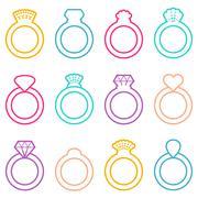 Wedding ring icons - stock illustration