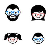 Family member faces - stock illustration