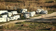 Caravans at camping site Stock Footage