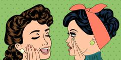 Pop art retro women in comics style that gossip Stock Illustration