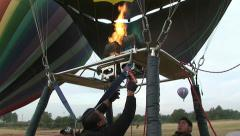 Hot Air Balloon inflates and prepare to fly. Teotihuacan, Mexico. Stock Footage