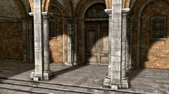 Entry of a monastery Stock Illustration