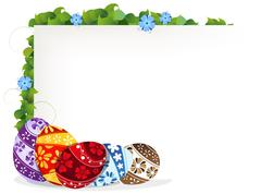 Easter eggs and blue wildflowers Stock Illustration