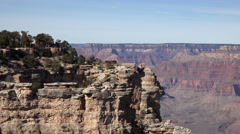Grand Canyon beautiful cliff lookout point tourists 4K Stock Footage