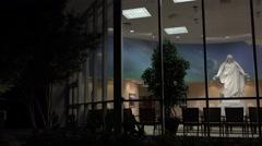 St George Utah Temple Visitor Center night Christus 4K Stock Footage