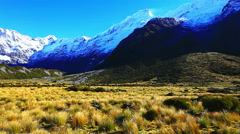 Beautiful scenery of Aoraki Mount Cook valleys New Zealand Stock Footage