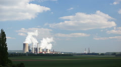 Power Station In The Distance Stock Footage