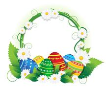 Easter eggs with lush foliage and daisies - stock illustration