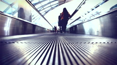 HD: Moving sidewalk are shown that constantly run upstairs, 1920x1080 Stock Footage