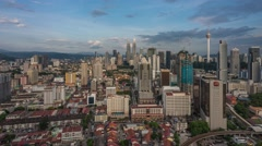 Sunset Time-lapse of Kuala Lumpur City Centre. Petronas and KL Tower Stock Footage