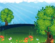 Nature landscape - stock illustration