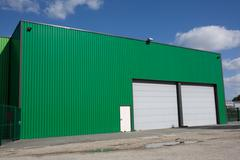 The exterior of a modern warehouse - stock photo