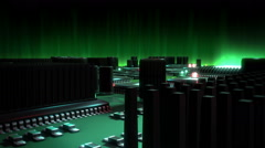 Stock Video Footage of Circuit Board with moving electrons green version