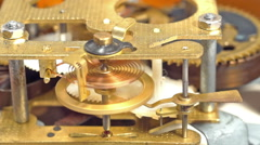 Mechanical clock mechanism in action. Three clips in one. Stock Footage