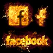 Facebook Logo on Fire Piirros