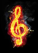 Fire Musical G Clef Stock Illustration