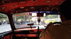 Mumbai India Asia taxi male driving car motorized Stock Footage