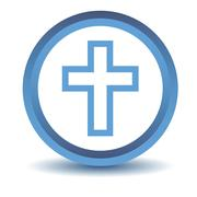 Blue Protestant Cross icon - stock illustration