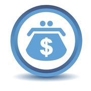 Blue Dollar purse icon - stock illustration