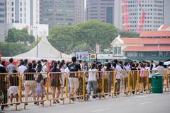 Queue at the Padang Singapore - stock photo