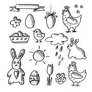 Set of spring easter doodle sketches, icons, isolated vector illustrations - stock illustration