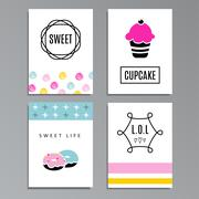 Set of greeting or journaling cards with cupcakes and doughnuts, cute sweet d - stock illustration