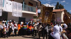 PISAC, PERU - JULY 16, 2011: Virgin del Carmen festival parade in Pisac, Peru. Stock Footage