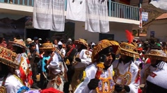 PISAC, PERU - JULY 16, 2011: Virgin del Carmen festival parade in Pisac, Peru. - stock footage