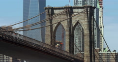4K - Iconic Brooklyn Bridge with Freedom Tower Stock Footage