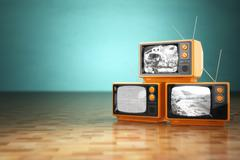 Vintage television concept. Stack of retro tv set on green background. Stock Illustration