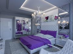 Stock Illustration of 3d rendering bedroom in gray and white tones with purple accents