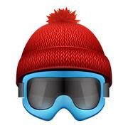 Knitted woolen cap with snow goggles. Winter seasonal sport hat Stock Illustration