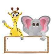 Funny cartoon giraffe and elephant with text box Stock Illustration