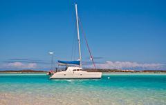 Anchored Sailboat - stock photo