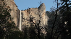 Yosemite Fall,at magic hour Stock Footage