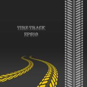 Tire track with perspective and template for tire brush Stock Illustration