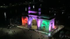 Mumbai Gateway India Maharashtra sea people travel  Stock Footage