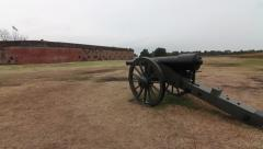 Cannon pointed at fort Stock Footage