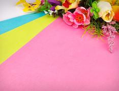 Arrangement of artificial flowers Stock Photos