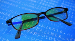Glasses. Source program code. Stock Footage