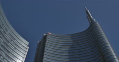 Milano, Unicredit Tower, view from the top to the downstairs area. Stock Footage