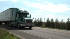 Semi Truck Drive By Stock Footage
