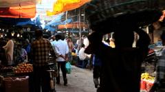 Crawford Market Mumbai India vegetables food stall Stock Footage