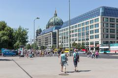 BERLIN, GERMANY - JULY 22: Tourists walking downtown Berlin in the Karl Liebk Stock Photos
