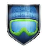 Stock Illustration of Bright shield in the winter cap and ski goggles inside