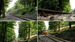 4K montage (compilation)- train passing through the forest from or to the tunnel Stock Footage